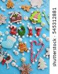 christmas homemade gingerbread... | Shutterstock . vector #545312881