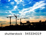 construction site with cranes... | Shutterstock . vector #545334319