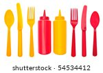 Summer Picnic Concept with Bottles of Ketchup and Mustard.  Isolated on White with a Clipping Path. - stock photo