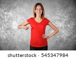 Young Woman In Blank Red T...
