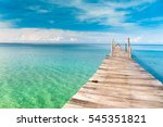 jetty to the blue contemplating ... | Shutterstock . vector #545351821