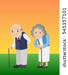 old man and old woman with... | Shutterstock .eps vector #545357101