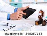 close up of doctor's hands... | Shutterstock . vector #545357155
