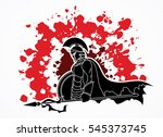 spartan warrior with spear and... | Shutterstock .eps vector #545373745