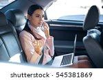 businesswoman speaking by... | Shutterstock . vector #545381869