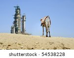 Oil refinery in a desert environment. - stock photo
