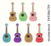 cute vector guitars... | Shutterstock .eps vector #545386759