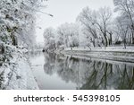 small river in winter in... | Shutterstock . vector #545398105