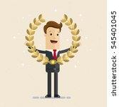 businessman holding a golden... | Shutterstock .eps vector #545401045