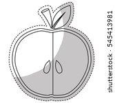 slice of apple fruit in heart... | Shutterstock .eps vector #545413981
