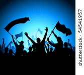 a crowd of people with flags... | Shutterstock .eps vector #54541957