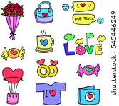 love romance object of doodles... | Shutterstock .eps vector #545446249