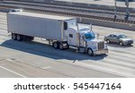 white truck with semi trailer ... | Shutterstock . vector #545447164