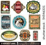 Stock vector vintage labels collection design elements with original antique style set 54546331