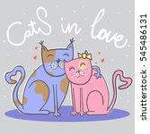 cute cats in love. happy... | Shutterstock .eps vector #545486131