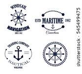 set of vintage retro nautical... | Shutterstock .eps vector #545499475