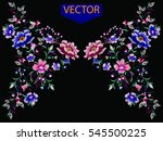 embroidery ethnic flowers neck line flower design graphics fashion wearing | Shutterstock vector #545500225