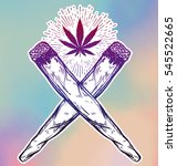 two crossed weed joints or... | Shutterstock .eps vector #545522665