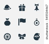set of 9 simple christmas icons.... | Shutterstock . vector #545534467