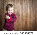 very angry little boy. cute... | Shutterstock . vector #545558071