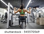 attractive woman working out in ... | Shutterstock . vector #545570569