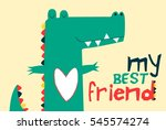 Stock vector  sweet crocodile vector illustration t shirt graphics for kids vector illustration 545574274
