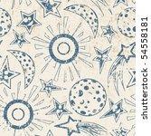 moon stars and sun in grunge...   Shutterstock .eps vector #54558181