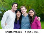 four happy young friends... | Shutterstock . vector #54558451