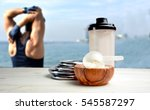 protein shake vanilla flavor... | Shutterstock . vector #545587297