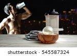 protein shake vanilla flavor... | Shutterstock . vector #545587324