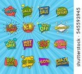 discount comic icons set with... | Shutterstock .eps vector #545593945