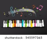 Music Keyboard With Colorful...