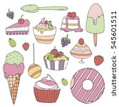 set of vector color dessert on... | Shutterstock .eps vector #545601511