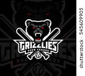 grizzly mascot for a baseball... | Shutterstock .eps vector #545609905
