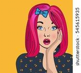 vintage pop art illustration.... | Shutterstock . vector #545615935