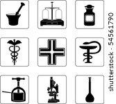old pharmacy objects in a nine... | Shutterstock .eps vector #54561790