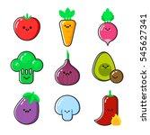 a set of cartoon vegetables... | Shutterstock .eps vector #545627341