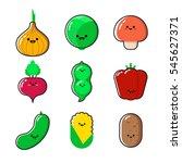 a set of cartoon vegetables... | Shutterstock .eps vector #545627371