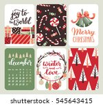 collection of six christmas and ... | Shutterstock . vector #545643415