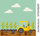 corn harvest and yellow tractor ... | Shutterstock .eps vector #545648689