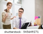 business couple smiling and...   Shutterstock . vector #545649271
