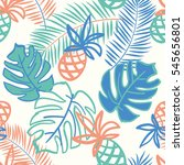 palm leaves and pineapples on... | Shutterstock .eps vector #545656801