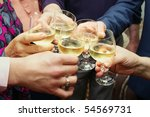 closeup of many hands making... | Shutterstock . vector #54569731