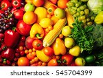 fresh fruits and vegetables... | Shutterstock . vector #545704399
