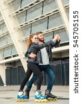 beautiful roller skater couple... | Shutterstock . vector #545705155