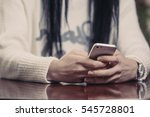 woman texting on her mobile... | Shutterstock . vector #545728801