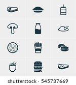 illustration of 12 dish icons.... | Shutterstock . vector #545737669