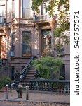 brownstone stoop in brooklyn ... | Shutterstock . vector #545757571