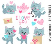 set of cute kitten with hearts... | Shutterstock .eps vector #545758555