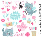 set of cute kitten with hearts  ... | Shutterstock .eps vector #545758561